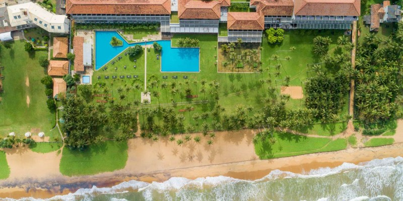 Aerial view of the Blue Water Resort & Spa in Sri Lanka