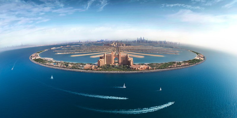 Aerial shot of Atlantis the Palm from Tropical Warehouse