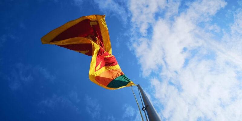 Sri Lankan flag flying