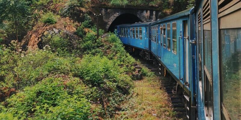 Train going through a tunnel in rural Sri Lanka