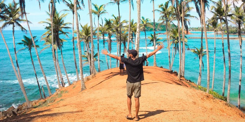 Man on a tropical excursion