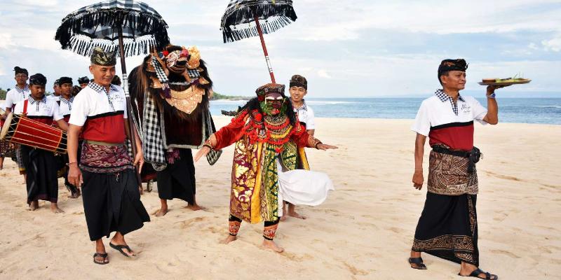 a traditional Ngelawang celebration