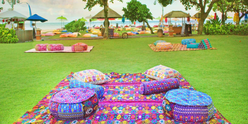 yoga on the lawn is activity at Ayodya Resort
