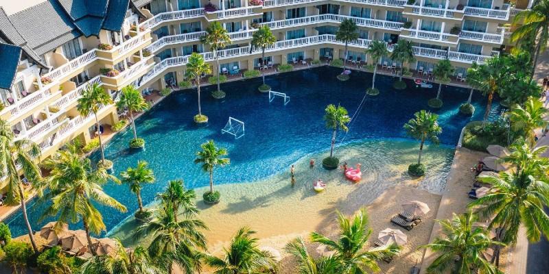 Aerial shot of the pool area at Angsana resort Thailand