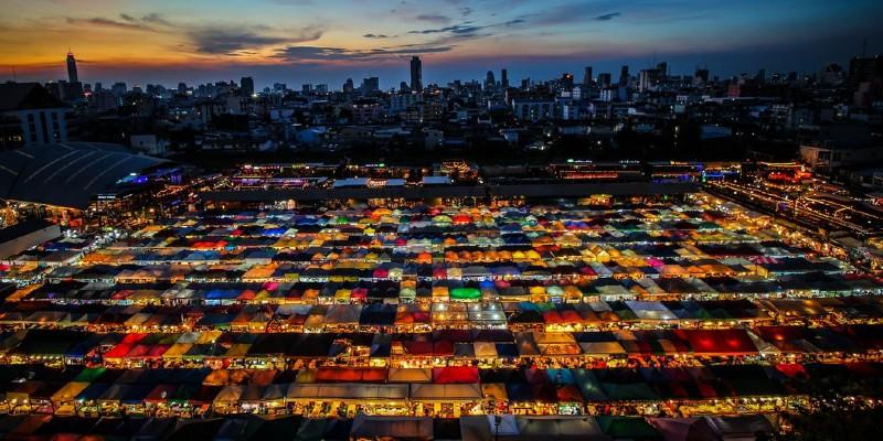 Aerial picture of Khlong Toei market, Bangkok
