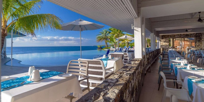 Views of the Indian Ocean from the main buffet restaurant at Anelia Resort & Spa