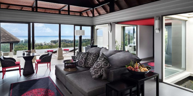 The living area in an Ocean View Pool Villa at the Pavilions Phuket