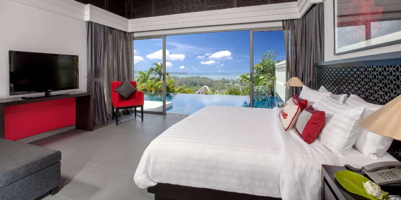 Inside shot of the bedroom in an Ocean View Pool Villa at the Pavilions Phuket