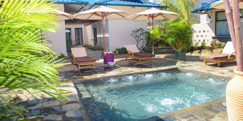 Poolside shot from the exterior of the resort spa at Anelia Resort & Spa