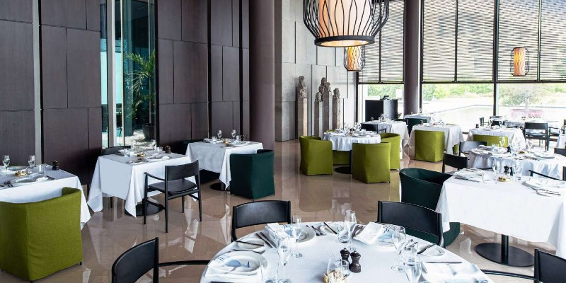 A fine dining restaurant at The Oberoi Resort Al Zorah