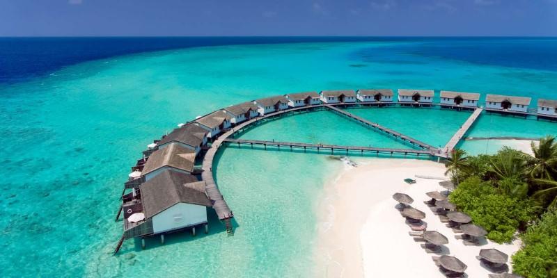 Water villas at Reethi Beach Resort