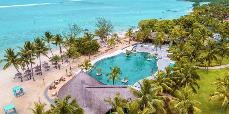 Aerial Shot of Outrigger Mauritius Beach