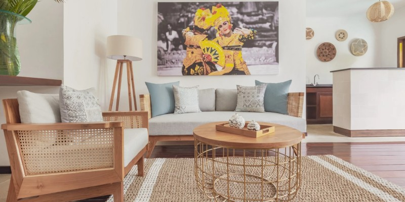 the contemporary living area in a One Bedroom Pool Villa at The Pavilions Bali