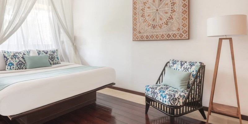 Interior shot of the bedroom in a One Bedroom Pool Villa at The Pavilions Bali