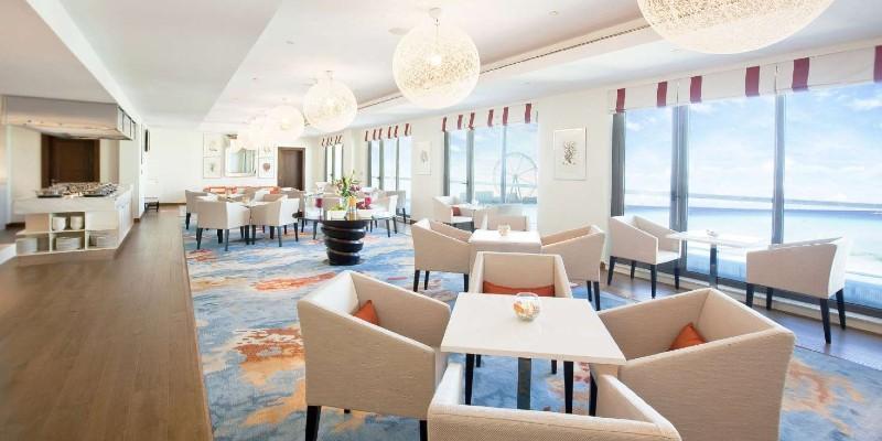 Interior shot of the Coral Lounge at JA Ocean View Resort Dubai