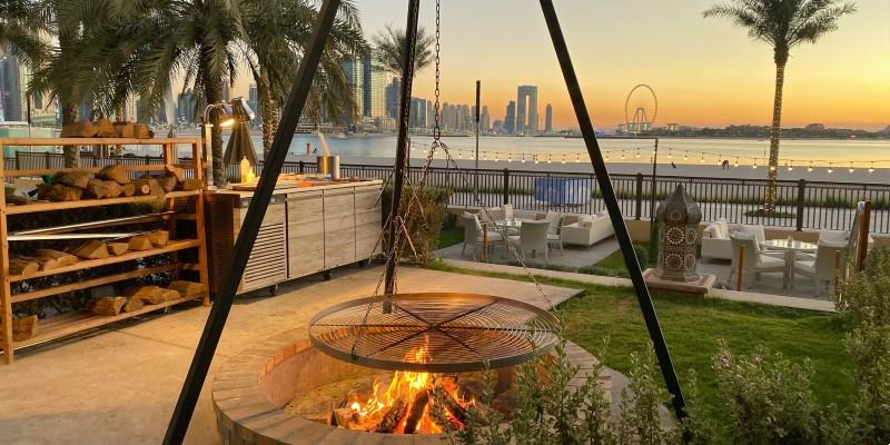 Relaxed outdoor area overlooking Dubai