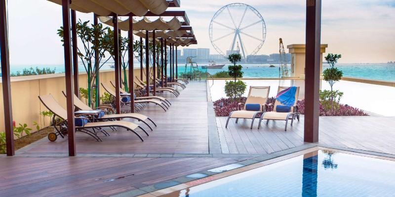 Views of the Dubai skyline from JA Ocean View Hotel
