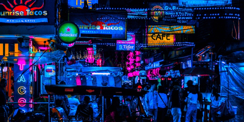 Row of shops and bars in Bangkok in  evening light
