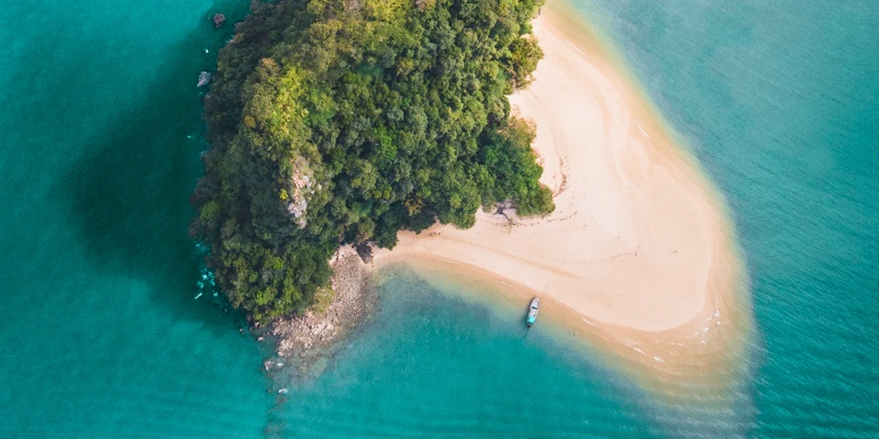 Aerial shot of Koh Yao Noi island in Thailand