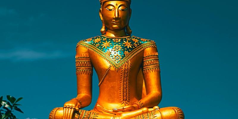 Shiny gold Buddhist statue in Phuket