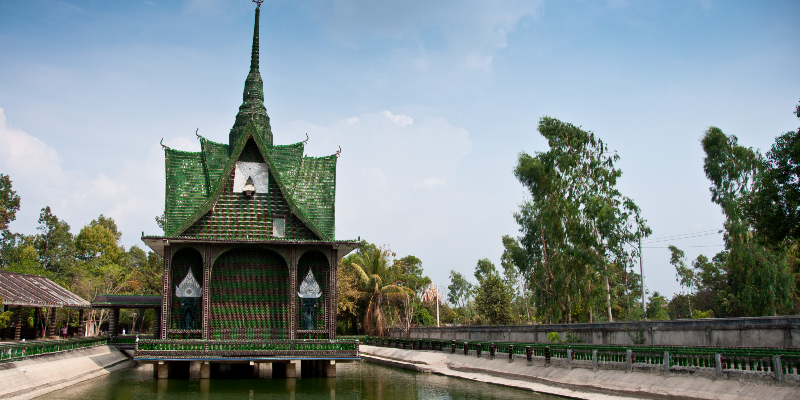 Wat Pa Maha Chedi Kaew or the bottle temple in Thailand
