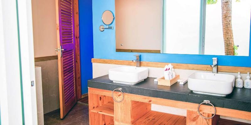 Bathroom in a Beachfront Villa at South Palm Resort, Maldives