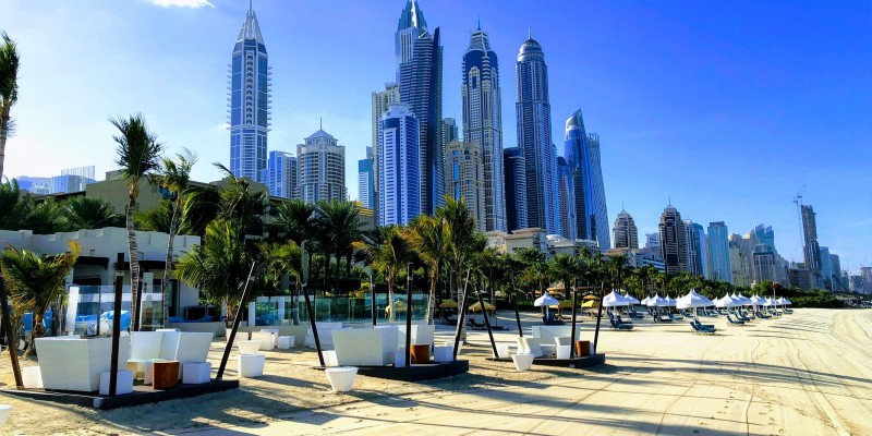 Dubai beach with the Marina in the background