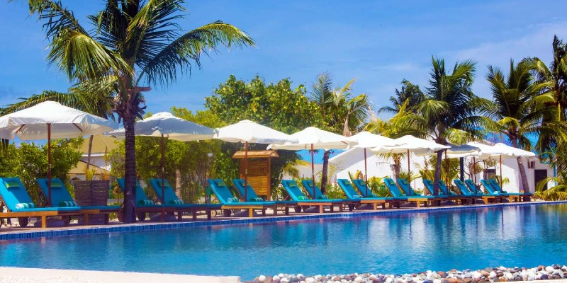 Poolside area at South Palm Resort, Maldives