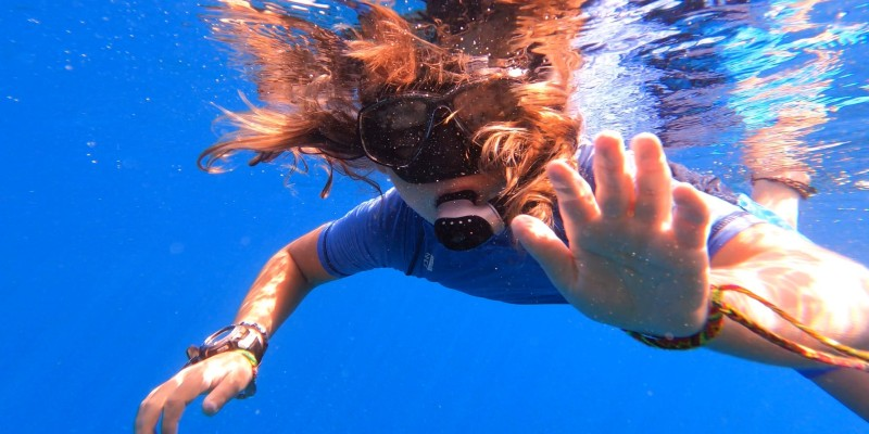 A woman snorkelling
