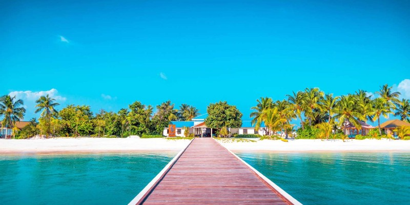 the welcome jetty to South Palm island, Maldives
