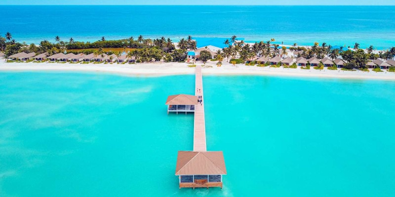 The welcome jetty at South Palm, Maldives