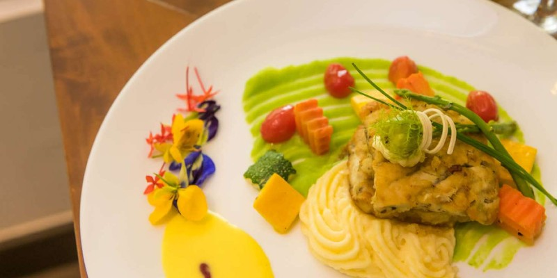 A colourful, neat plate of food at Blue Water Hotel Sri Lanka