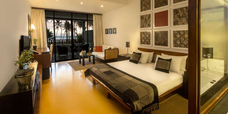 Interior view of a Superior Deluxe Room at Blue Water Hotel Sri Lanka