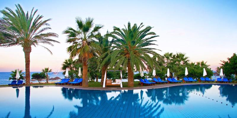 Sunrise at the main pool in Azia Resort & Spa, Cyprus