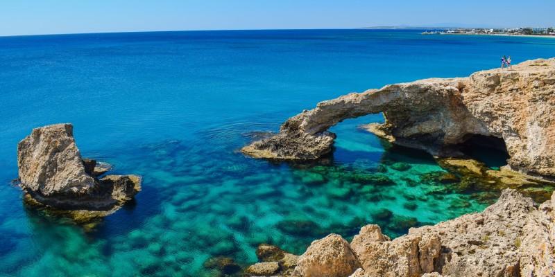 Landscape of rocks in the sea in Cyprus