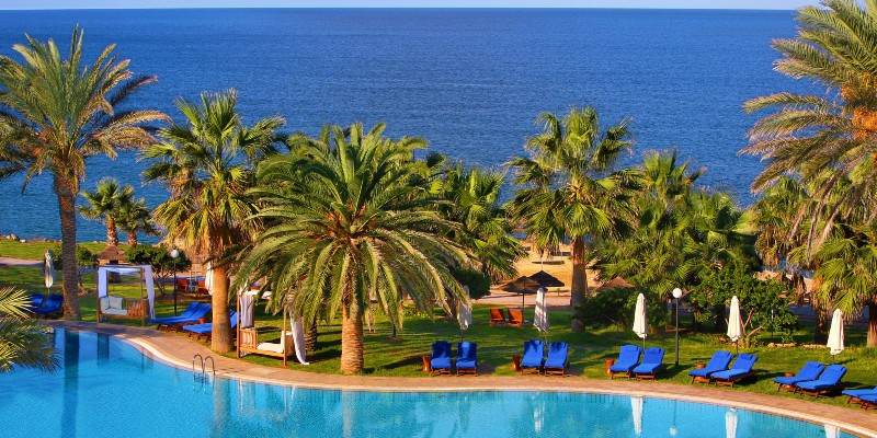 The sea views over the pool at Azia Resort & Spa