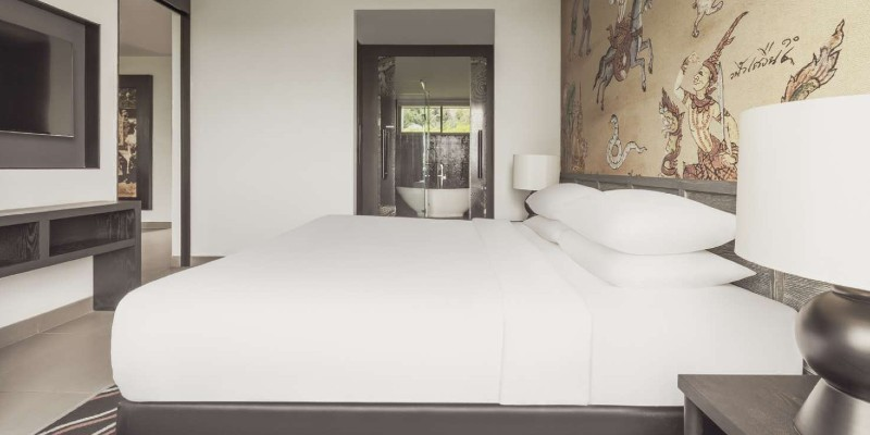 king-size bed in the suite bedroom